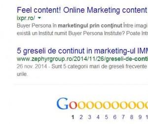 Prima pagina in Google pentru marketing prin continut