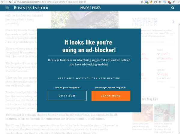 Business Insider native advertising e fara adblockers