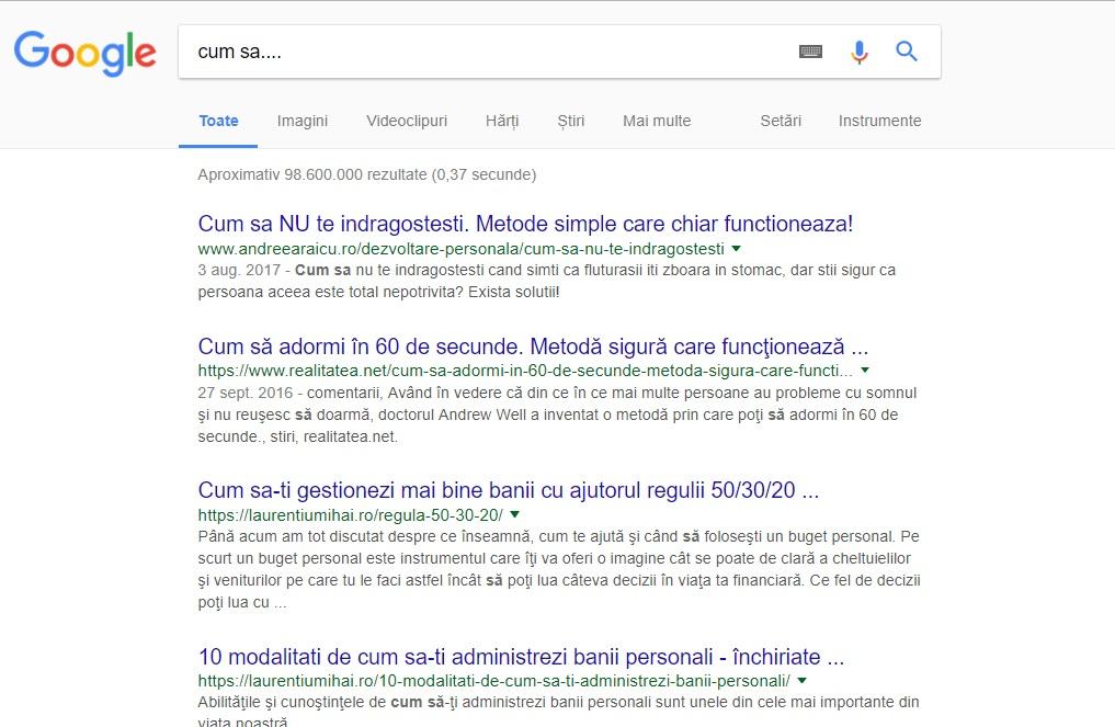 """Articole cum sa... La prima pozitie in Google Andreea Raicu ne invata cu sa nu ne indragostim. Presupun ca la """"cererea publicului"""". :)"""